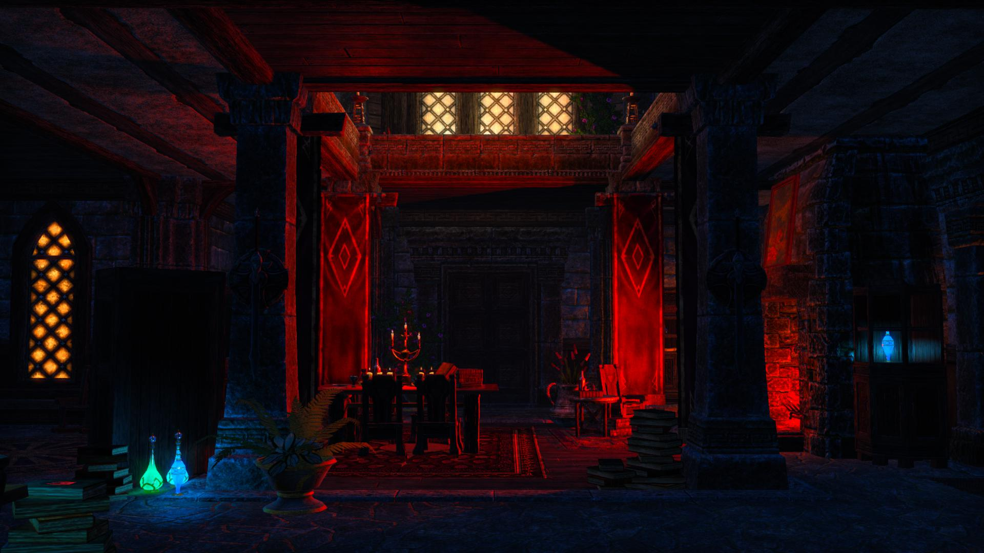 A scary mansion, it has blood red lighting, some fetching drapes and a couple of glowing alchemy bottles in case you forget this is a fantasy game.